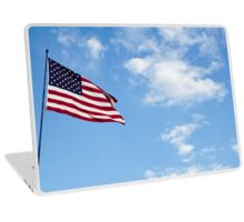 United states of America flag blowing in the wind with clouds and blue sky background Laptop Skin