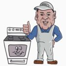 Oven Cleaner With Oven Thumbs Up Cartoon  by patrimonio