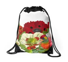 Poppy Garden with Lorikeet Parrot Drawstring Bag