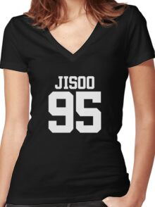 BLACKPINK Jisoo 95 (White) Women's Fitted V-Neck T-Shirt