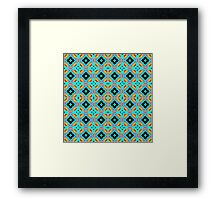 Blue Abstract Modern Geometric Pattern Framed Print