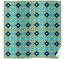 Blue Abstract Modern Geometric Pattern Poster