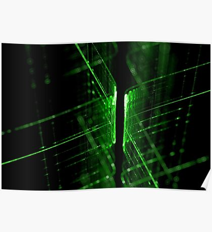 green technology lines background Poster