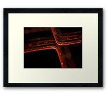 abstract orange glowing lines with bokeh effect Framed Print