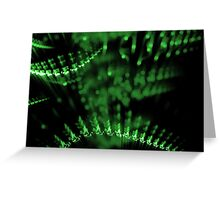 abstract green lights in dark background Greeting Card
