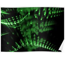 abstract green lights in dark background Poster