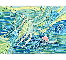 Woman with jellyfish into the ocean. Beautiful girl and waves and space universe. Mermaid Photographic Print