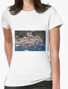 Photography of the beautiful Portofino fishing village in Italy. Aerial view on small bay and colorful houses at town of Portofino in Liguria, Italy. Womens Fitted T-Shirt