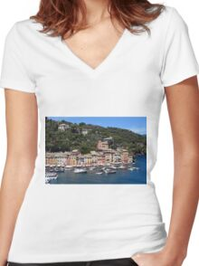 Photography of the beautiful Portofino fishing village in Italy. Aerial view on small bay and colorful houses at town of Portofino in Liguria, Italy. Women's Fitted V-Neck T-Shirt