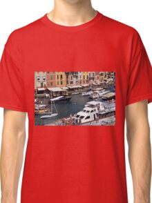 Photography of the beautiful Portofino fishing village in Italy. Aerial view on small bay and colorful houses at town of Portofino in Liguria, Italy. Classic T-Shirt