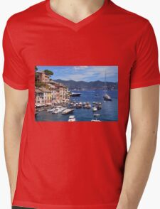 Photography of the beautiful Portofino fishing village in Italy. Aerial view on small bay and colorful houses at town of Portofino in Liguria, Italy. Mens V-Neck T-Shirt