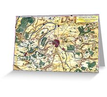 Map of the environs of Paris, France, Bonne,1780 Greeting Card