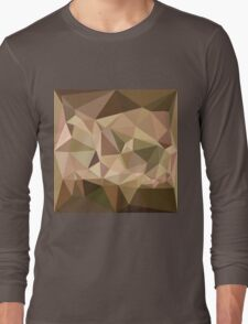 Burlywood Abstract Low Polygon Background Long Sleeve T-Shirt