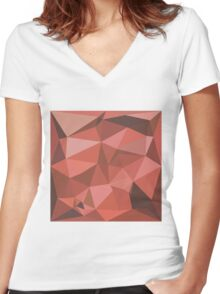 Deep Pink Abstract Low Polygon Background Women's Fitted V-Neck T-Shirt