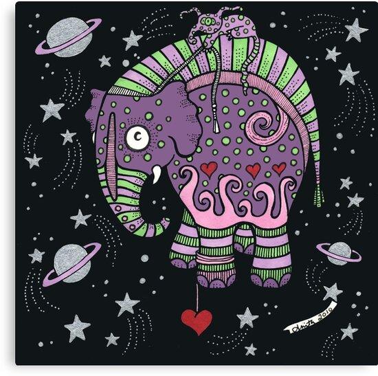 Interstellar Elephant Print by Anita Inverarity