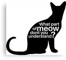 What part of meow dont you understand? Canvas Print