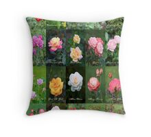 June Roses Garden Collage Throw Pillow