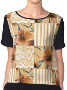 Patchwork seamless floral orange lilly pattern texture background with stripes Chiffon Top