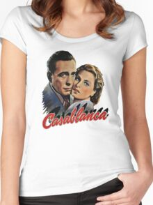 CASABLANCA HUMPHREY BOGARD INGRID BERGMAN retro classic Women's Fitted Scoop T-Shirt