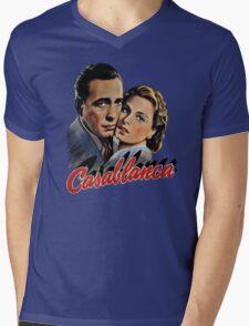 CASABLANCA HUMPHREY BOGARD INGRID BERGMAN retro classic Mens V-Neck T-Shirt