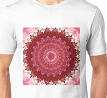 Crimson kaleidoscope. Seamless pattern for textiles. Unisex T-Shirt