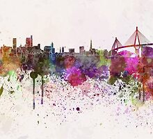 Hamburg skyline in watercolor background by paulrommer