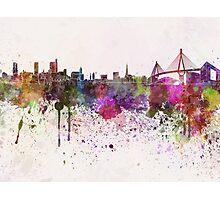 Hamburg skyline in watercolor background Photographic Print