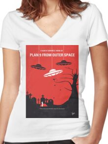 No518 My Plan 9 From Outer Space minimal movie poster Women's Fitted V-Neck T-Shirt