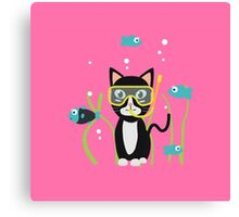Underwater diving cat with fish Canvas Print
