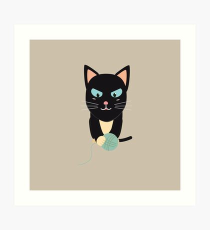 Cat with Ball of Wool Art Print