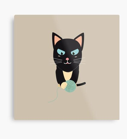 Cat with Ball of Wool Metal Print