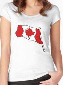 Waving Canadian Flag Women's Fitted Scoop T-Shirt