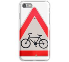 Israel, Bicycle caution road sign on white background iPhone Case/Skin