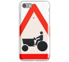 tractor and agricultural equipment warning road sign on white background iPhone Case/Skin