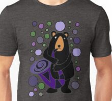 Funny Cute Black Bear Playing Saxophone Unisex T-Shirt