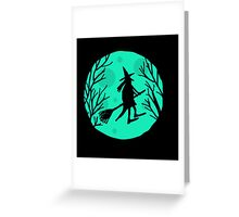 Halloween witch - green moon Greeting Card