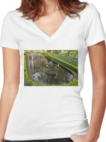 Backyard Tranquility - a Beautifully Landscaped Garden with a Fountain Women's Fitted V-Neck T-Shirt