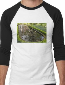 Backyard Tranquility - a Beautifully Landscaped Garden with a Fountain Men's Baseball ¾ T-Shirt