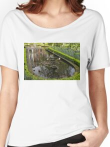 Backyard Tranquility - a Beautifully Landscaped Garden with a Fountain Women's Relaxed Fit T-Shirt