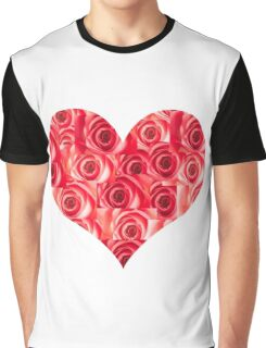 Heart made of Red Roses Graphic T-Shirt