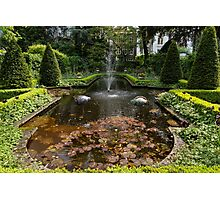 Backyard Oasis Symmetry With a Softly Burbling Garden Fountain Photographic Print