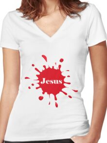 The Blood of Jesus Women's Fitted V-Neck T-Shirt