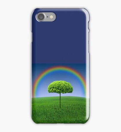 Evergreen Topiary tree with Rainbow over iPhone Case/Skin