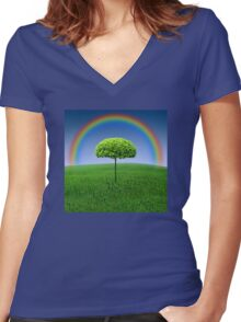 Evergreen Topiary tree with Rainbow over Women's Fitted V-Neck T-Shirt