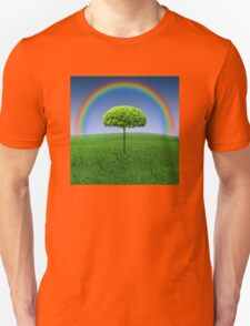 Evergreen Topiary tree with Rainbow over Unisex T-Shirt