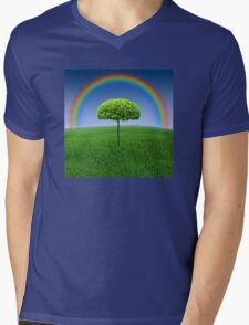 Evergreen Topiary tree with Rainbow over Mens V-Neck T-Shirt