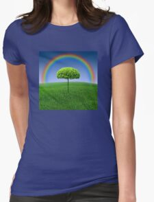 Evergreen Topiary tree with Rainbow over Womens Fitted T-Shirt