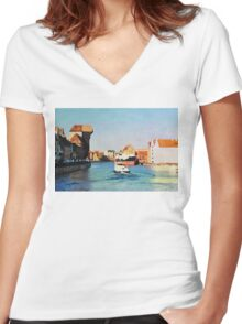 Gdansk old town in watercolor Women's Fitted V-Neck T-Shirt