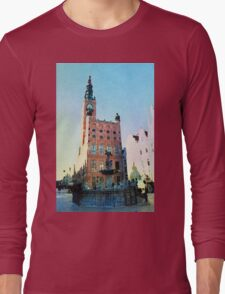 Gdansk old town in watercolor Long Sleeve T-Shirt