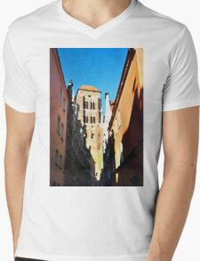 Gdansk old town in watercolor Mens V-Neck T-Shirt